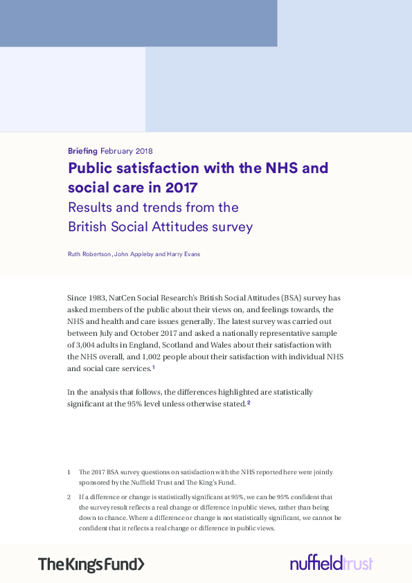 Patient experience, public satisfaction and politics (49)