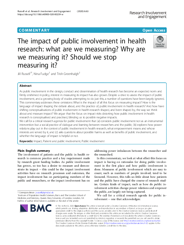 Research Involvement and Engagement (227052)